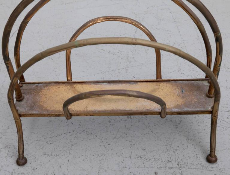 French Brass Magazine Faux Bamboo Stand For Sale