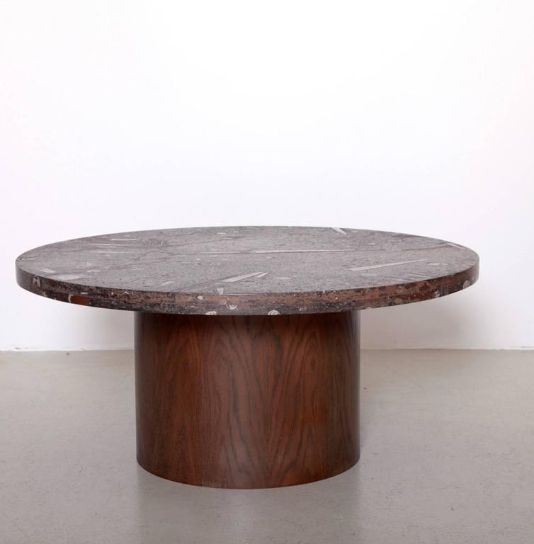 Rare Heinz Lilienthal Coffee Table In Excellent Condition With Fossil Stone Stop And Oak Plywood Base