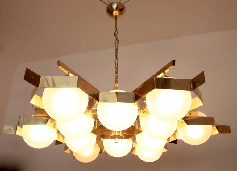 Monumental Brass and Glass Chandelier Attributed to Stilnovo For Sale 2