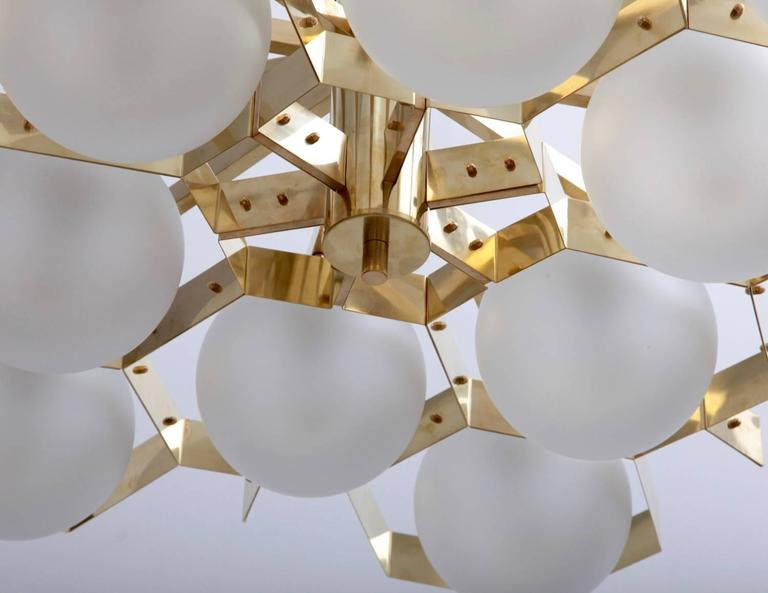 Contemporary Monumental Brass and Glass Chandelier Attributed to Stilnovo For Sale