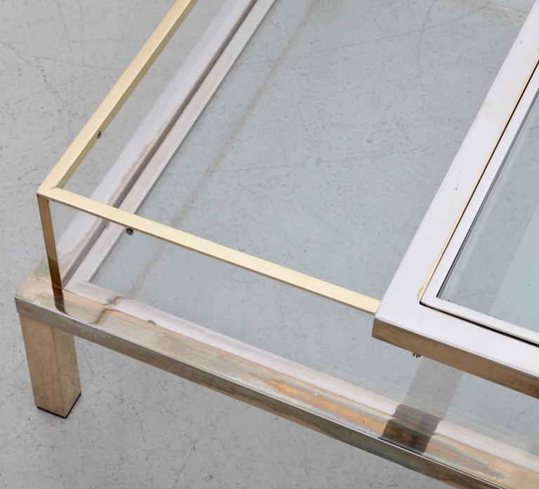 French Maison Jansen Sliding Top Coffee Table in Brass and Chrome For Sale