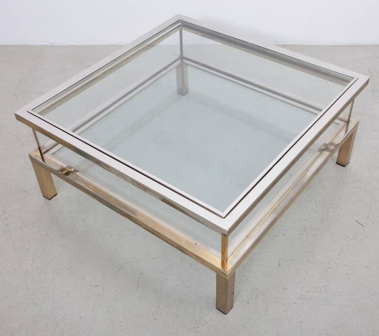 Maison Jansen Sliding Top Coffee Table in Brass and Chrome In Good Condition For Sale In Berlin, DE