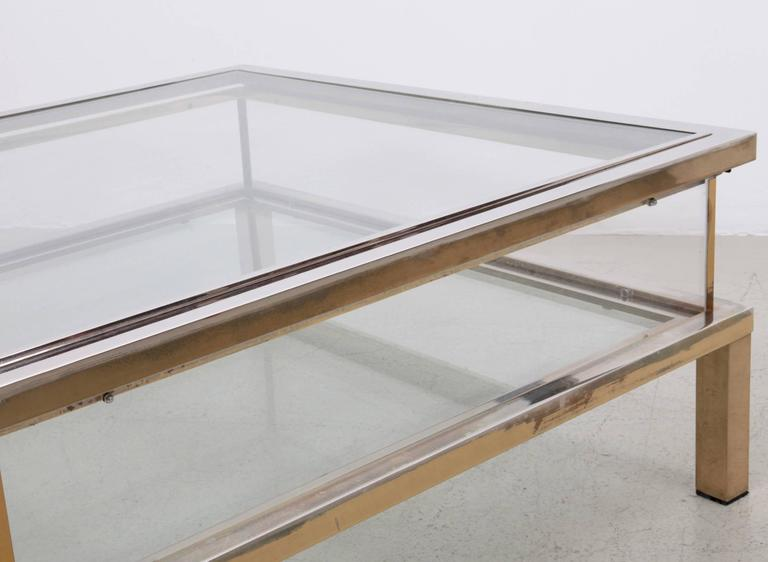 Late 20th Century Maison Jansen Sliding Top Coffee Table in Brass and Chrome For Sale