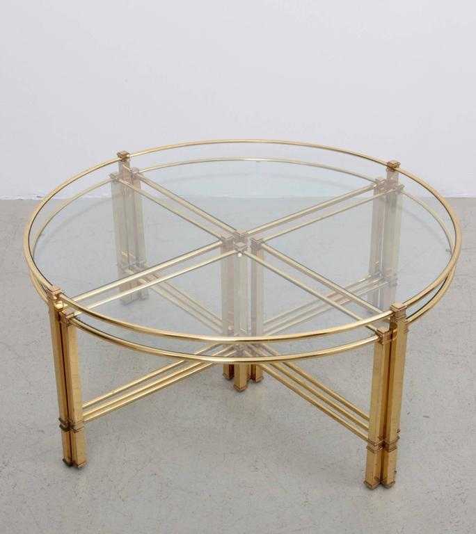 Huge Round Coffee Table In Brass With Four Nesting Tables