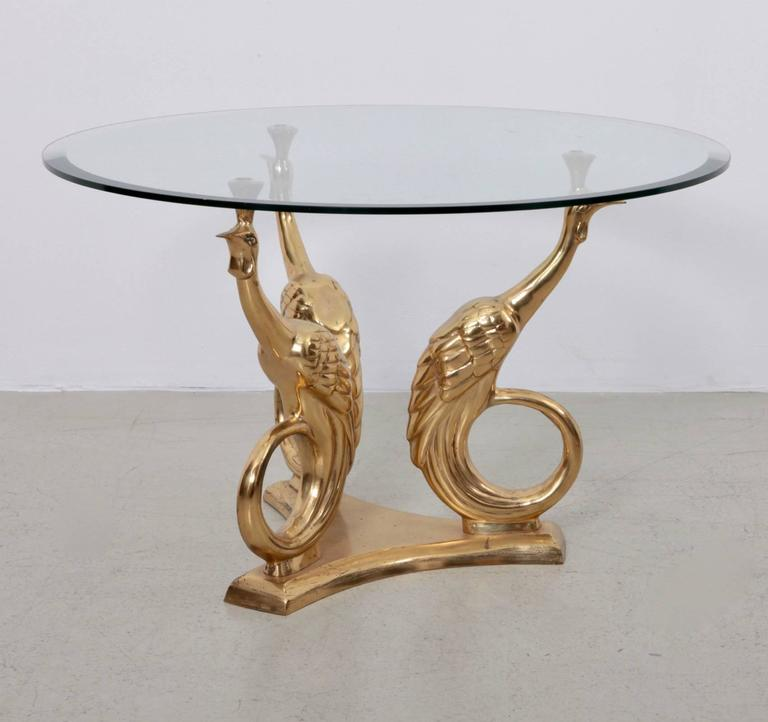 Elegant Brass And Glass Coffee Table: Brass Coffee Or Side Table With Peacocks For Sale At 1stdibs