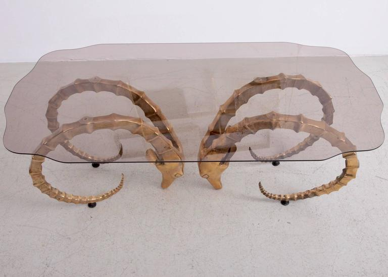 Brass And Glass Ram S Head Or Ibex Coffee Table In The