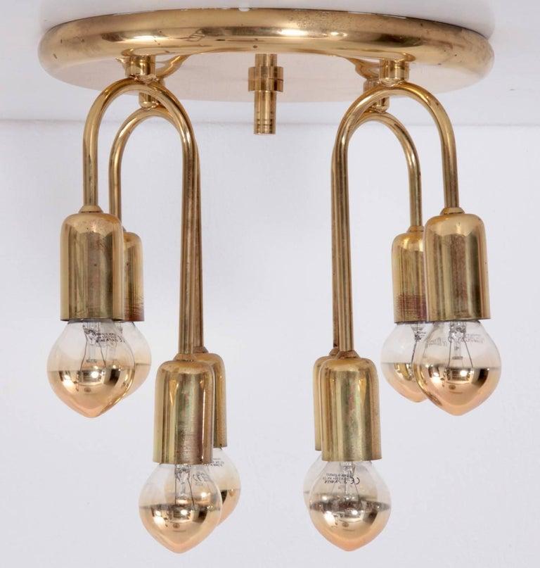 Mid-Century Modern Pair of Honsel Brass Flush Mount For Sale