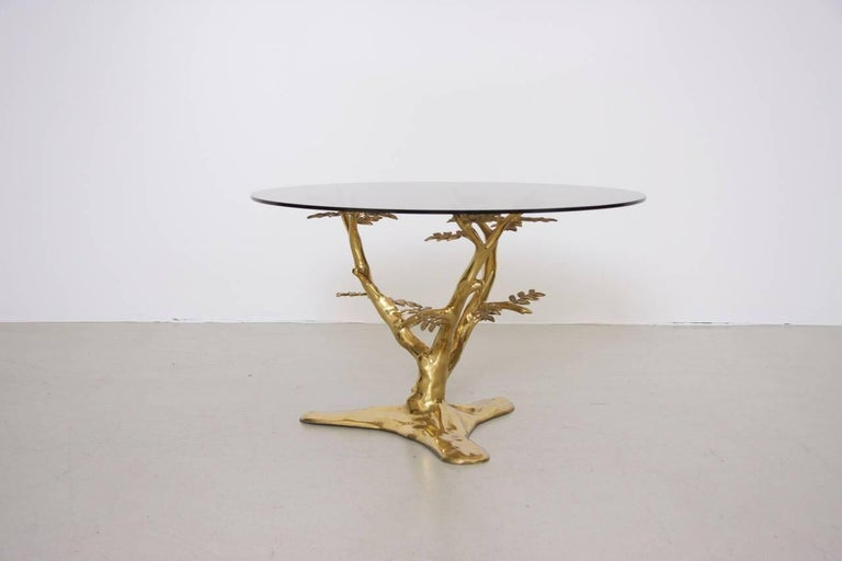 Belgian Brass Tree Sculpture Coffee Table in the Manner of Willy Daro For Sale