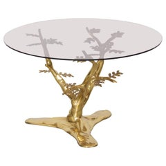 Brass Tree Sculpture Coffee Table in the Manner of Willy Daro