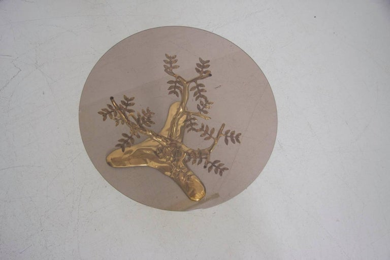 Brass Tree Sculpture Coffee Table in the Manner of Willy Daro In Excellent Condition For Sale In Berlin, DE