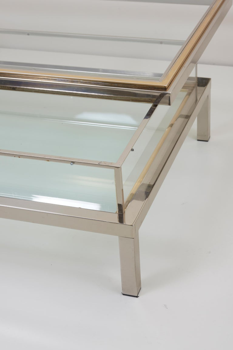 French Huge Maison Jansen Sliding Top Coffee Table in Brass and Chrome For Sale