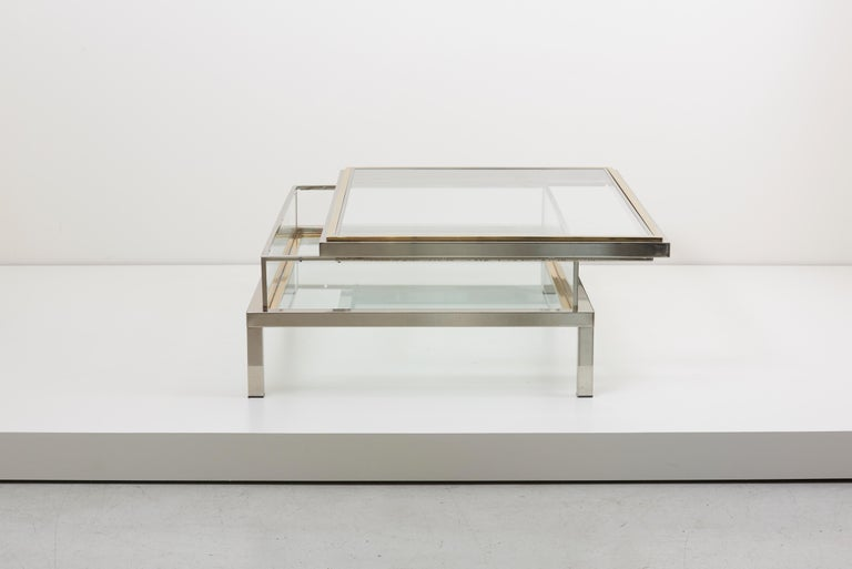 Late 20th Century Huge Maison Jansen Sliding Top Coffee Table in Brass and Chrome For Sale
