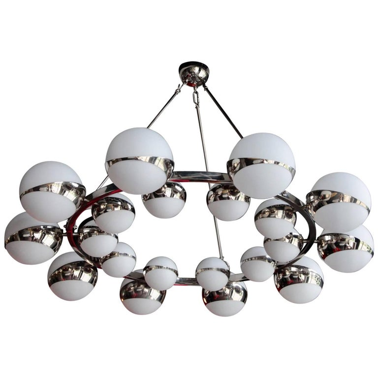 Very Huge Stilnovo Style Murano Glass and Chrome Chandelier