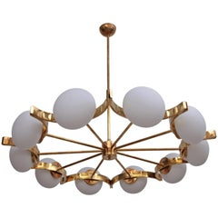 Huge Murano Glass and Brass Chandelier in the Manner of Fontana Arte