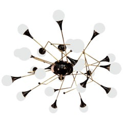 Exceptional Huge Atomic or Sputnik Chandelier in the Manner of Stilnovo