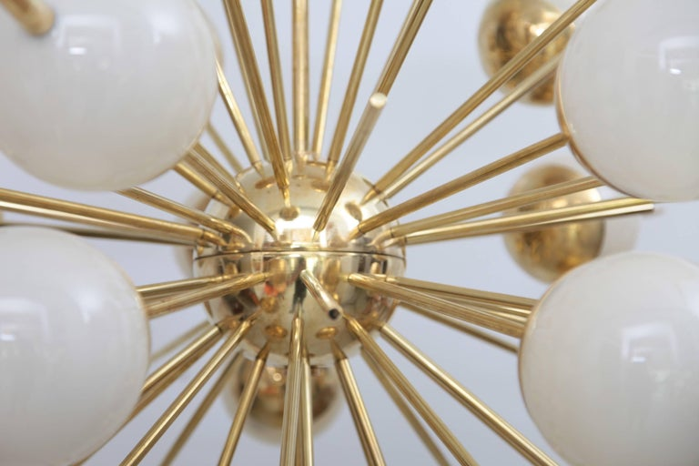 Italian 1 of 2 Huge Sputnik Murano Glass and Brass Chandelier For Sale