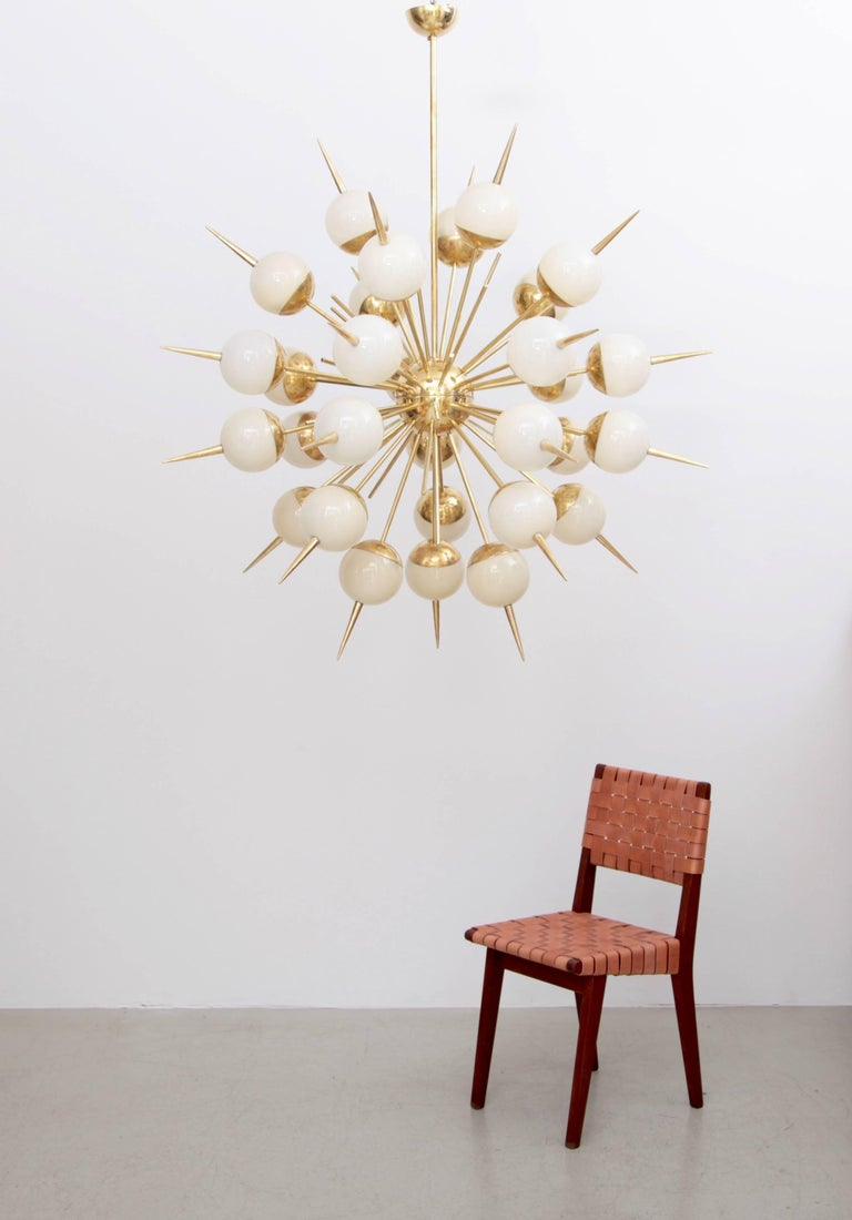 Late 20th Century 1 of 2 Huge Sputnik Murano Glass and Brass Chandelier For Sale