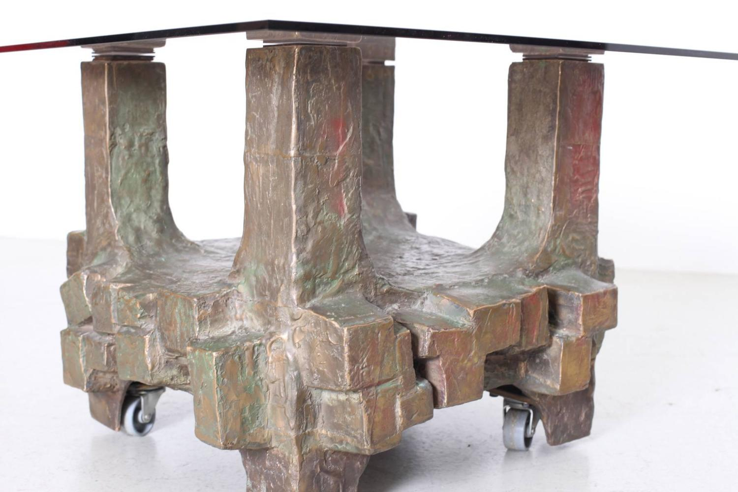 unique pair of brutalist bronze side tables in the manner unique italian ceramic side table by federico quattrini
