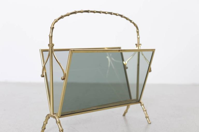 French Maison Bagues Brass and Glass Faux Bamboo Magazine Rack For Sale