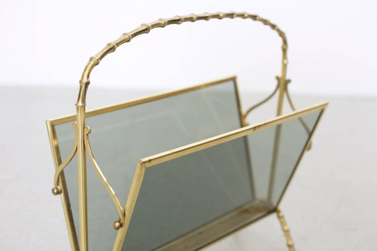 Maison Bagues Brass and Glass Faux Bamboo Magazine Rack In Excellent Condition For Sale In Berlin, DE