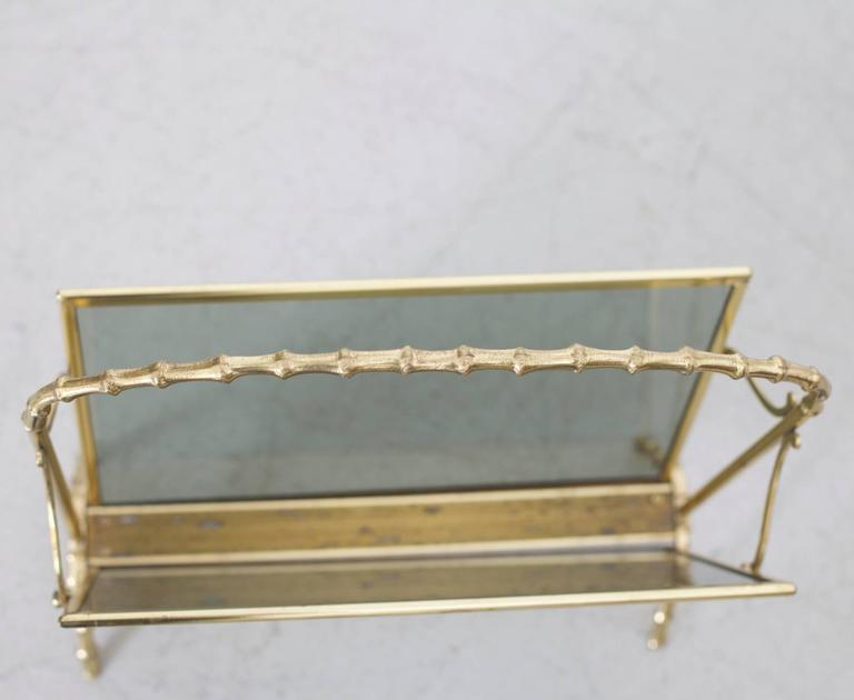 Maison Bagues Brass and Glass Faux Bamboo Magazine Rack For Sale 1