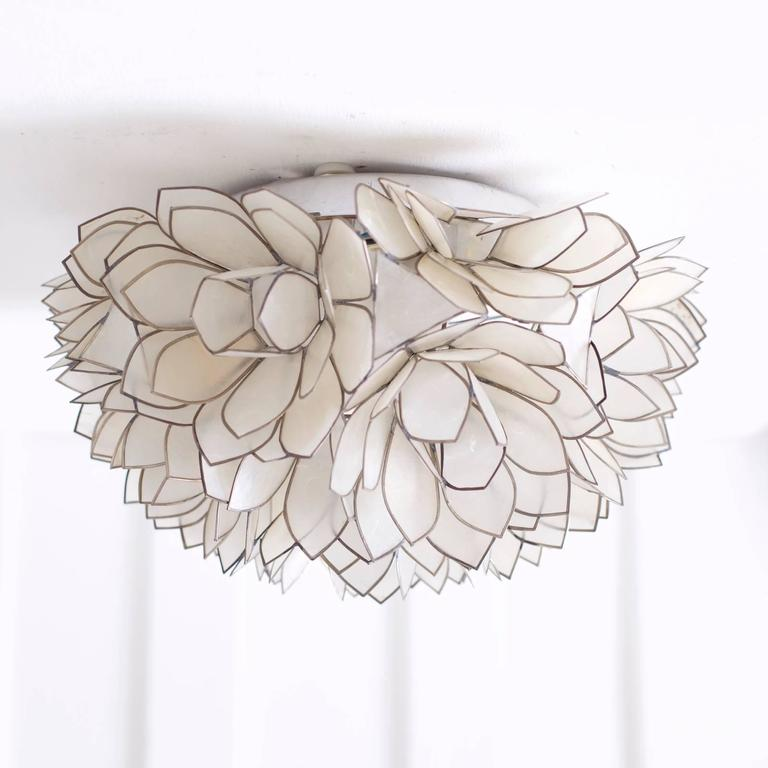 Pair Of Capiz Mother Of Pearl Shell Wall Lamp Or Flush
