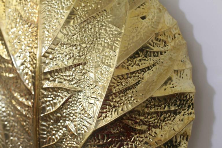 Hollywood Regency Pair of  Huge Rhaburb Leaf Brass Wall Lights or Sconces by Tommaso Barbi For Sale
