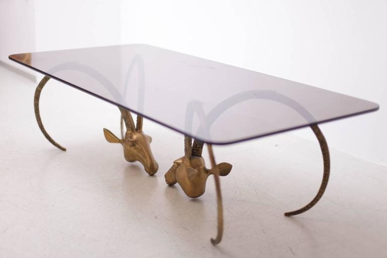 Beautiful And Rare Brass Ibex, Antelope Or Ram Head Coffee Table In The  Manner Of
