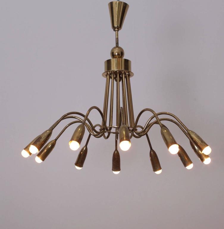 Huge Brass Sputnik Twelve-Light Chandelier For Sale 2