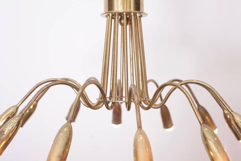 Mid-20th Century Huge Brass Sputnik Twelve-Light Chandelier For Sale
