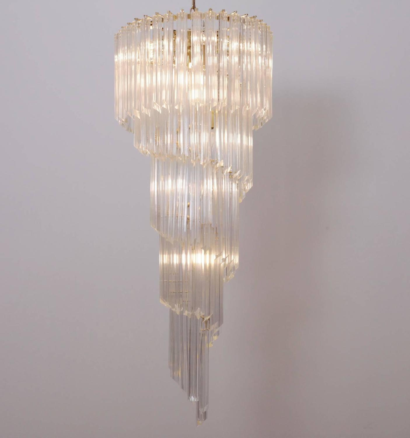 Murano Spiral Chandelier: Very Huge Murano Glass Spiral Chandelier By Venini For
