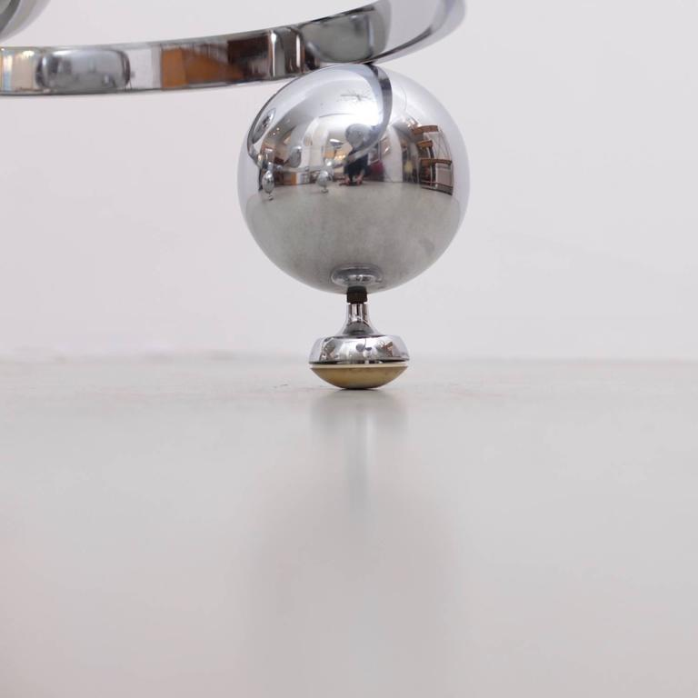Chrome Sputnik Coffee Table: Round Chrome Sputnik Atomic Coffee Table With Glass Top At