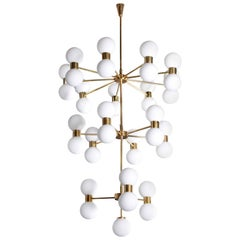 One of Two Exceptional Huge Brass and Frosted Glass Chandelier