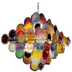Monumental Multi-Color Murano Glass Disc Chandelier by Vistosi