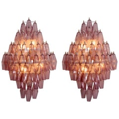 1/2 Pair of Amethyst Polyhedral Glass Sconces Wall Lamps in the Manner of Venini