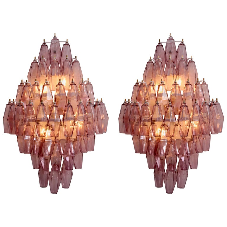 Pair of Amethyst Polyhedral Glass Sconces Wall Lamps in the Manner of Venini