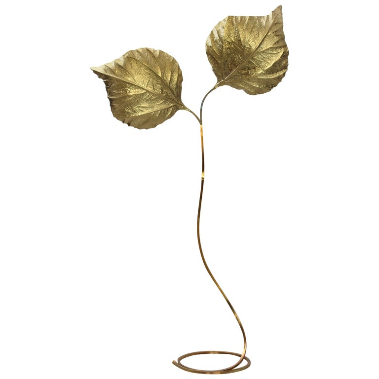 Huge Two Rhubarb Leaves Brass Floor Lamp by Tommaso Barbi