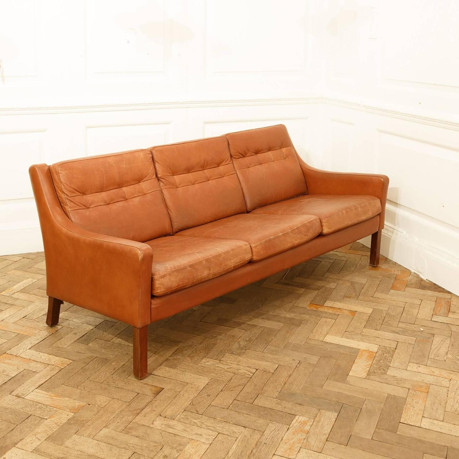 1960s cognac leather sofa after b rge mogensen 2213 at 1stdibs. Black Bedroom Furniture Sets. Home Design Ideas