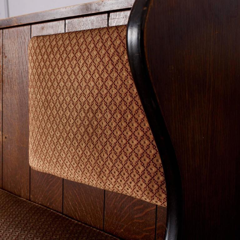 Quarter Sawn Oak Upholstered Pew 2