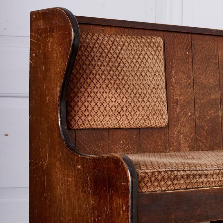 Quarter Sawn Oak Upholstered Pew 3