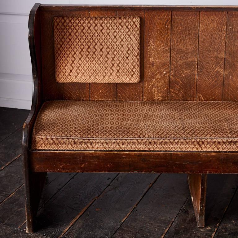 Quarter Sawn Oak Upholstered Pew 8