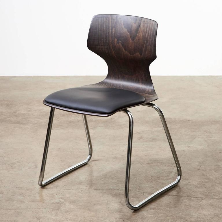 20th Century 1960s Flötotto Pagwood and Leather Dining Chair For Sale