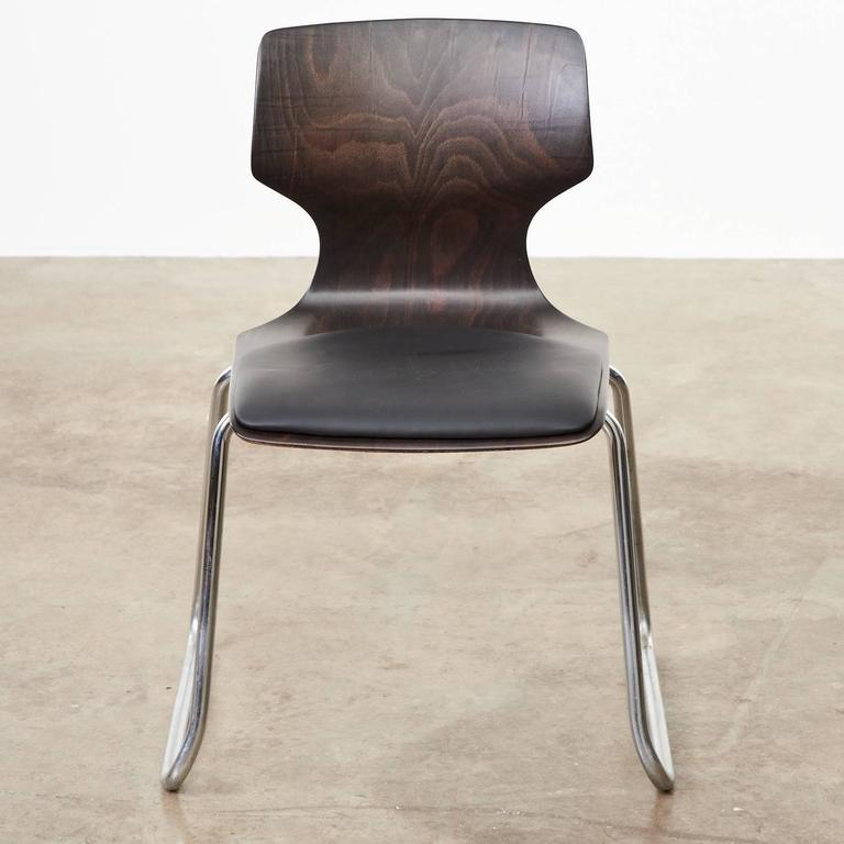 1960s Flötotto Pagwood and Leather Dining Chair In Excellent Condition For Sale In London, GB