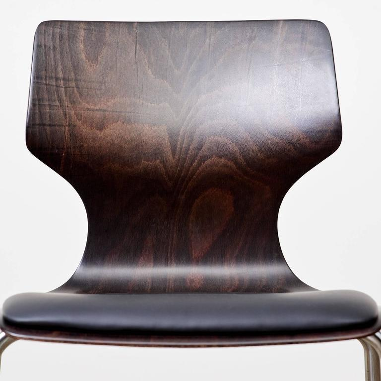 Plywood 1960s Flötotto Pagwood and Leather Dining Chair For Sale