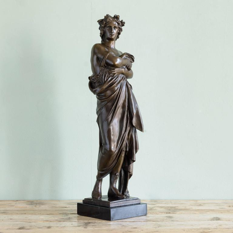 French Bronze Statue of Vergil Holding a Copy of the Aeneid For Sale