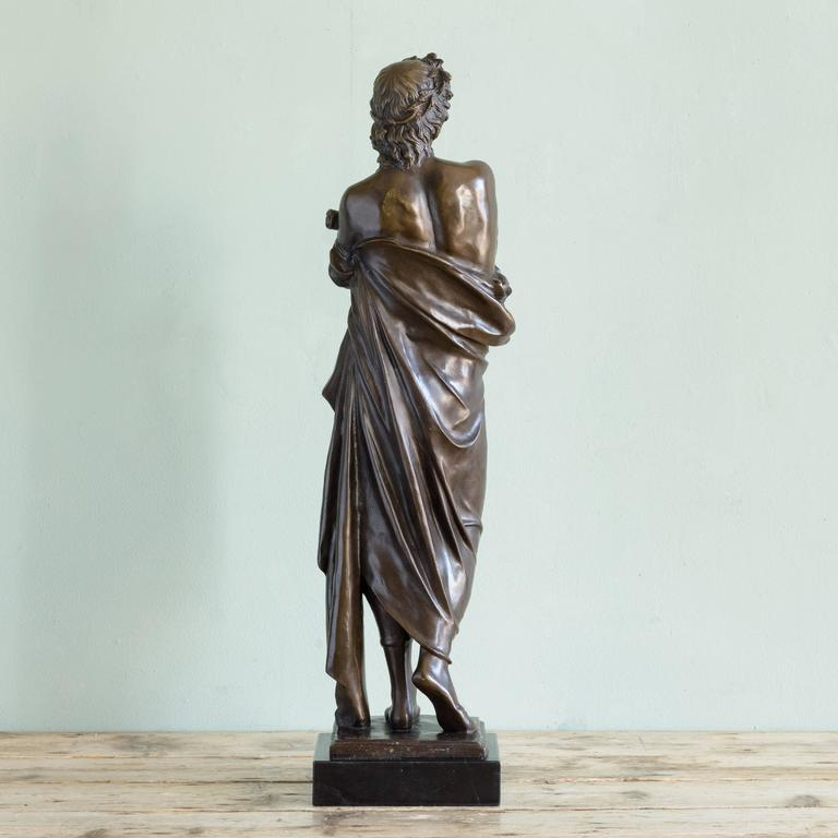 Bronze Statue of Vergil Holding a Copy of the Aeneid In Good Condition For Sale In London, GB