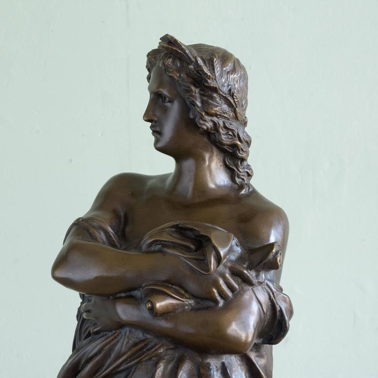 19th Century Bronze Statue of Vergil Holding a Copy of the Aeneid For Sale
