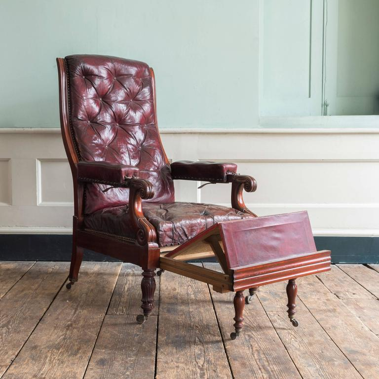 Mid-19th Century William IV Mahogany Reclining Reading Chair For Sale
