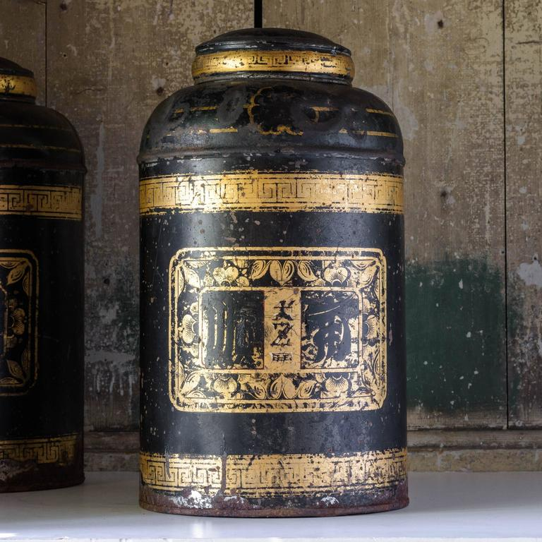 Chinoiserie Late19th Century Toleware Tea Canisters For Sale