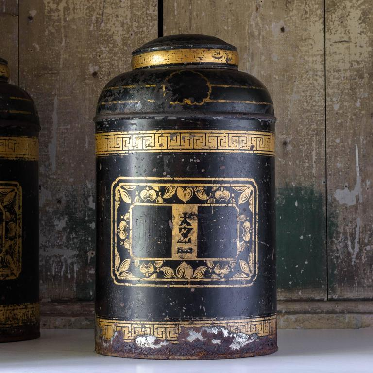 Asian Late19th Century Toleware Tea Canisters For Sale